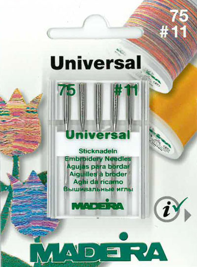 75/11 UNIVERSAL EMBROIDERY NEEDLES x5