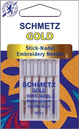 75/11 SCHMETZ GOLD TITANIUM EMBROIDERY NEEDLES PACK OF 5
